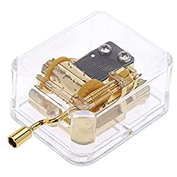 iPhyhe Acrylic Music Box with Hand Crank Desk Toy as Gift Stocking Stuffer for Kids (Canon)