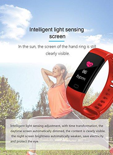 Fitness Reloj de pulsera con pulsómetro resistente al agua Fitness Tracker Actividad tracker Pulso Relojes Bluetooth Smart reloj de pulsera podómetro con ...