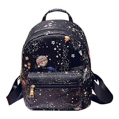 CLARA Girls Fashion Mini Backpack Star Universe Space Printing Schoolbag PU Leather Casual Daypack Small Satchel Black ()
