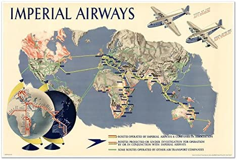Imperial Airways 1936 Flying Boats Vintage Style Travel Poster 24x36