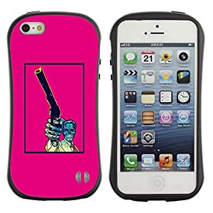 Suave TPU GEL Carcasa Funda Silicona Blando Estuche Caso de protección (para) Apple Iphone 5 / 5S / CECELL Phone case / / Pink Gun Pistol Poster Vintage Skull /