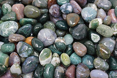 1/4 lb Bulk Lot Moss Agate Tumbled Stones by Rainbowrecords239