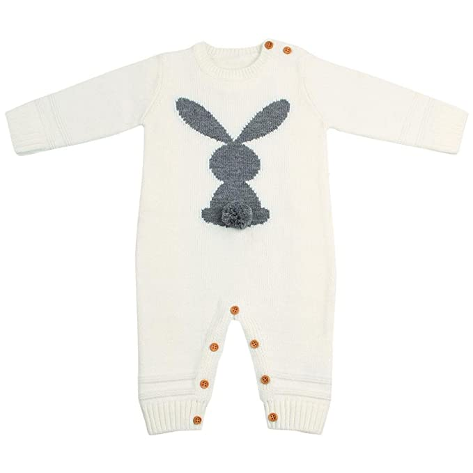 fd26d08c44f Turkey Toddler Baby Cute Knitted Rompers Rabbits Jumpsuit Autumn Winter  Warm Outfits Infant Costume (Beige Gray SkyBlue)  Amazon.co.uk  Clothing