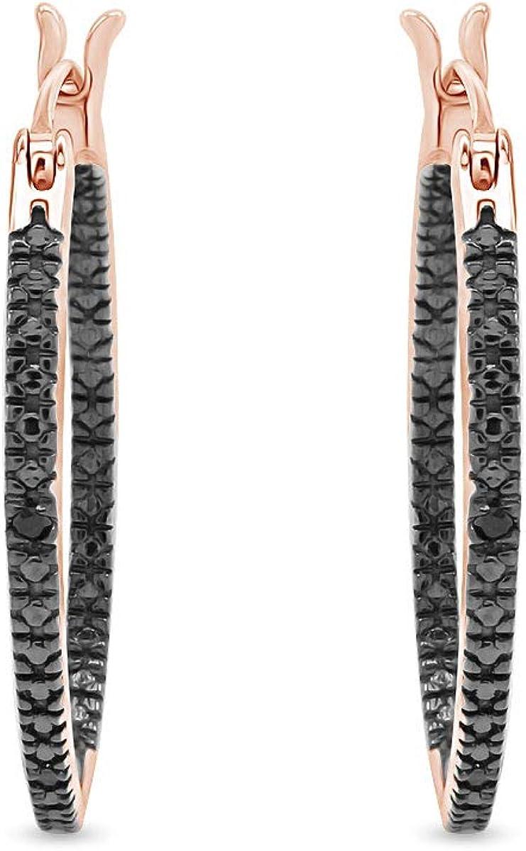 Black Natural Diamond Hoop Earrings In 14K Gold Over Sterling Silver