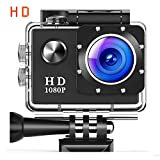 Action Camera Underwater Cam WiFi 1080P Full HD 12MP Waterproof 30m 2'' LCD 140 degree Wide-angle Sports Camera with 2 Rechargeable 1050mAh Batteries and Mounting Accessory Kits