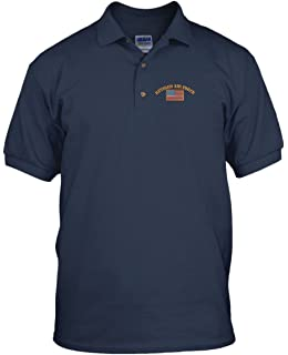 dcfe5020 Speedy Pros Retired Air Force Military Embroidery Embroidered Golf Polo  Shirt Navy Large