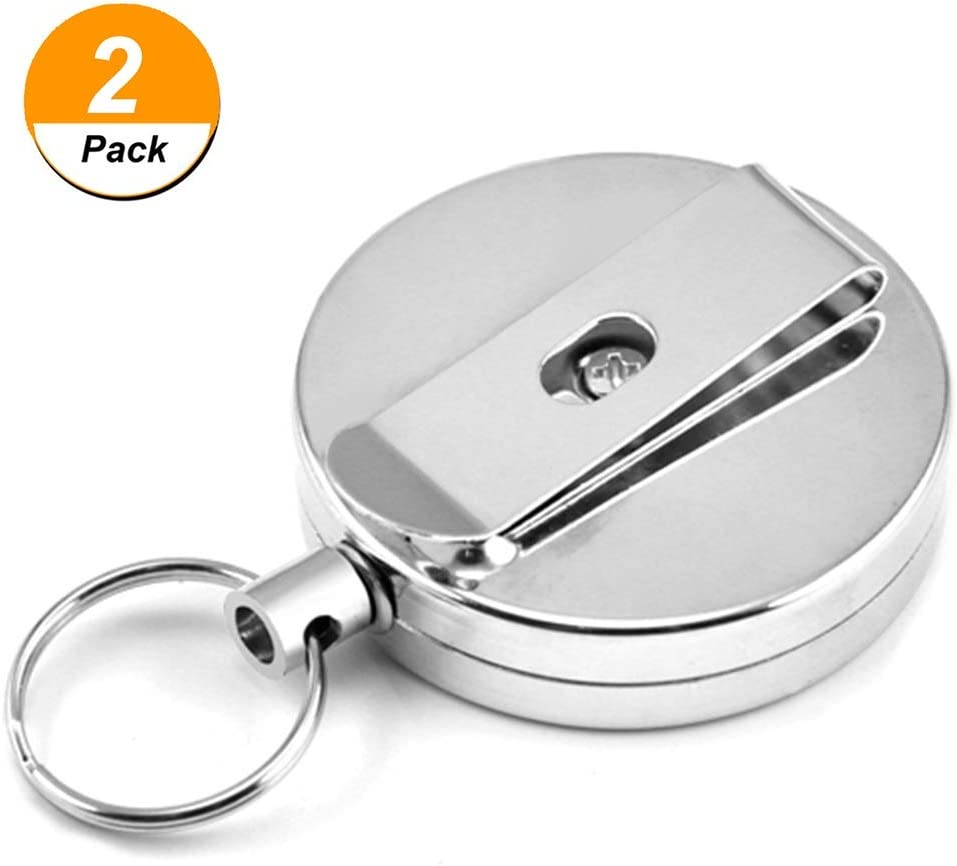 Retractable Key Chain Card Badge Holder Steel Ring Recoil Pull Belt Clip