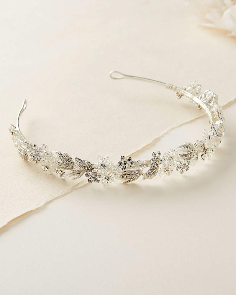 USABride Floral Headband Rhinestone Flower Bridal Headpiece Silver Plated with Rhinestones TI-3300 by USABride (Image #5)