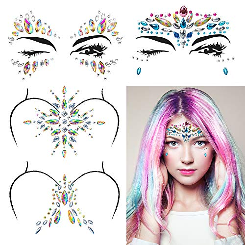 Ahier 4 Sets Gem Face Stickers, Mermaid Face