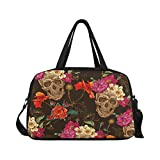 InterestPrint Travel Duffel Tote Bag with Shoes Compartment for Women & Men Skull and Flowers