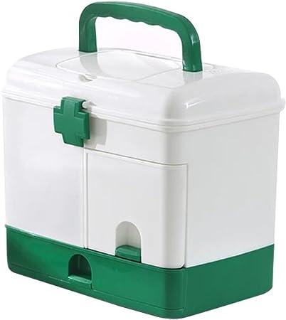 OUNONA Caja de almacenamiento médico de plástico caja de contenedor de medicina, armarios de medicina, pastillero (verde): Amazon.es: Hogar