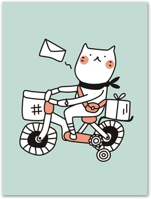 Ywsen Natación Gato Bicicleta Taza cámara Pared Arte Lienzo Pintura nórdica Cartel e Imprimir Pared niños Imagen bebé habitación decoración 60X100 cm sin Marco: Amazon.es: Hogar