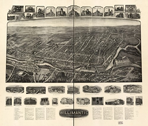 Map: 1909 Aero view of Willimantic, Connecticut 1909|Connecticut|Willimantic|Willimantic Conn