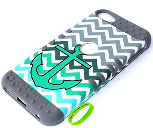 Cellphone Trendz 3-piece Impact Hybrid Combo Hard Case Cover For iPod Touch 5th Generation - Chevron Anchor Design Hard Case (Teal Anchor on Gray Silicone)