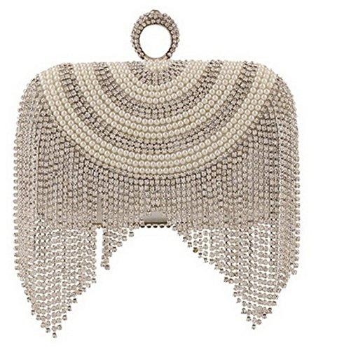 Alaimc Mando Special Fashon Women Brand Design Beaded Evening Bags Finger Ring Diamonds Small Imitation Pearl Handbags Silver ()