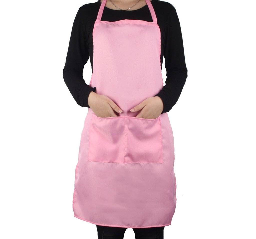 Womens Plain Apron with Front Pocket for Chefs Butchers Kitchen Cooking Craft Baking 6 Colors