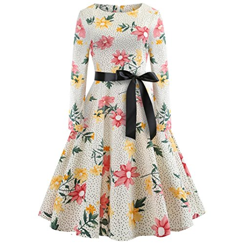 DongDong Womens Casual Dress Vintage Print Long Sleeve Evening Party Prom Swing Dress (L, Beige) ()