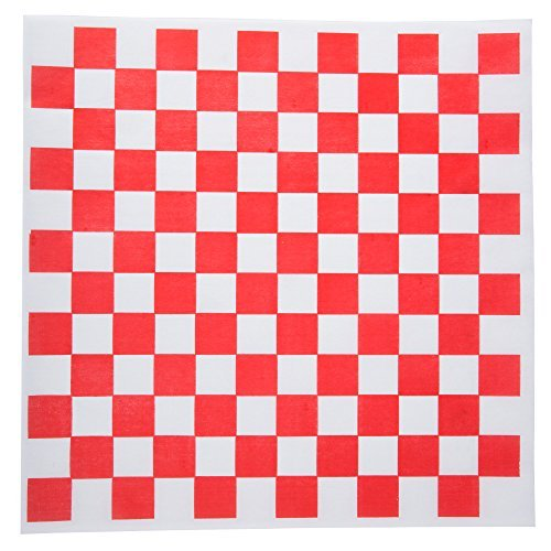 Dry Waxed Deli Paper Sheets - Paper Liners for Plasic Food Basket (12 x 12, Red Chekers, 100) A1 bakery supplies