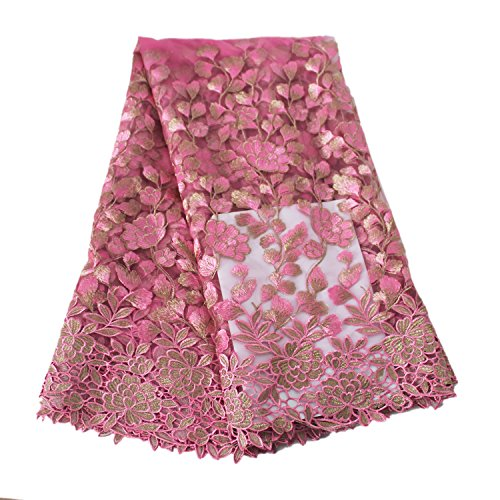 (Aisunne African Lace Fabrics 5 Yards Nigerian French Lace Fabric with Fashion Embroidered Flower for Wedding Party Dresses (Rose Red) )