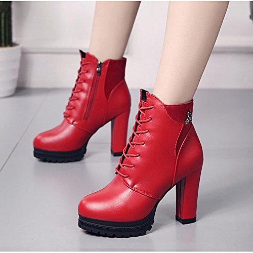 Round Fall Black Women's for ZHZNVX HSXZ Casual Platform Boots Toe Booties Black Boots Ankle PU Comfort Winter Shoes Red zHwqfX