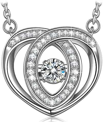 e52cdd00f DANCING HEART 925 Sterling Silver Necklace, 5A CZ Necklace Fine Jewelry  Hypoallergenic - The diamond