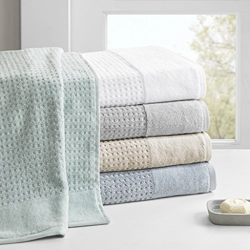 - Madison Park Spa Waffle Jacquard 600 GSM 100% Cotton Combed Velour Ultra Soft Absorbent Quick Dry Hotel Bathroom Towel Set Shower Hand Face Washcloths Assorted Sizes White