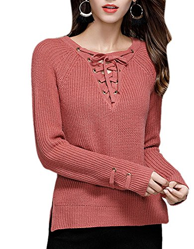 COLINNA Womens Crochet Knitted Plunge Cozy Lace up Weave Pullover Sweater Vintage Top Jumper