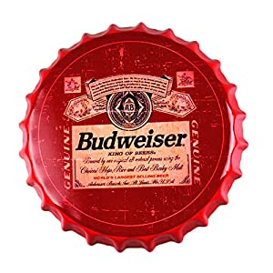 VINOXO 35CM Large Metal Tinplate Beer Bottle Caps Wall Hangings for Pubs, Restaurants and Home Decor (Budweiser)