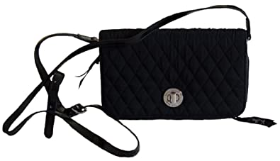 Vera Bradley Turnlock Crossbody Handbag, Classic Black with Faux Leather  Trim 8dcc3fe0a8
