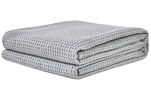 PHF Cotton Waffle Weave Bed Blanket Lightweight and Breathable Perfect Bed Home Decor Queen Size Light Grey ()