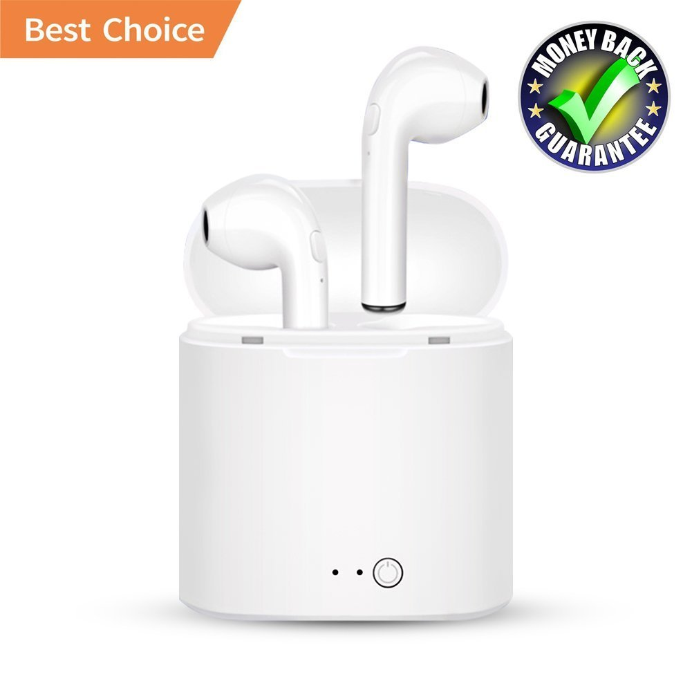 Bluetooth Headphones,capt1nk Wireless Headphones Stereo In-Ear Earpieces with 2 Wireless Built-in Mic Earphone and Charging Case for Most Smartphones-white02