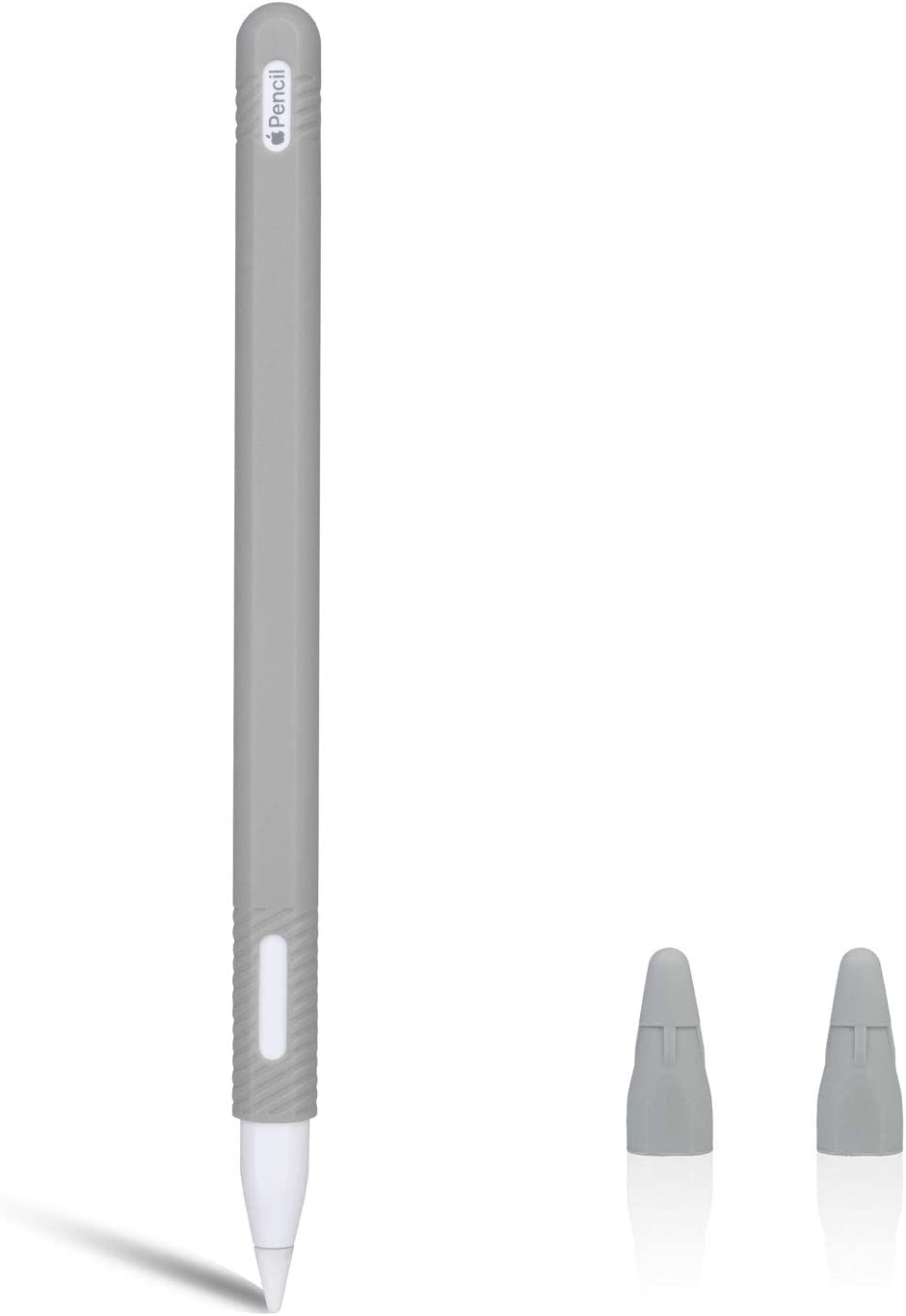 gozahad Silicone Case Compatible with New Apple Pencil 2nd Generation, Protective Anti-Slip Grip Sleeve with Nib Cover (2 Pieces), Do not Affect for Pencil Mode Switch & Magnetci (Grey)