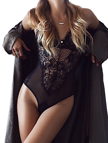 Hyacine Women Sexy Lingerie Teddy Sheer Hollow Out Lace One Piece Bodysuit  Bralette Thong aed6d248a