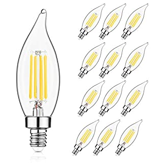 E12 LED Candelabra Bulb 60W Equivalent Dimmable LED Chandelier Light Bulbs 4.5W 2700K Soft White 550LM B10 Flame Tip Vintage LED Filament Candle Bulb with Decorative Candelabra Base, 12 Packs