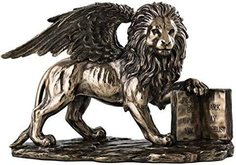 Top Collection Lion of Saint Mark Statue Holding The Holy Bible – Winged Lion Sculpture in Premium Cold Cast Bronze – 6.75-Inch Collectible Museum Grade Replica Figurine