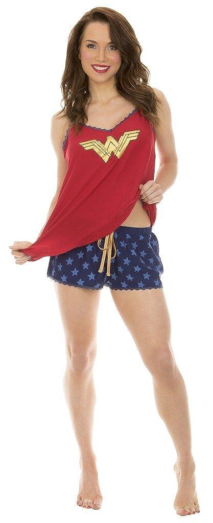 Amazon.com: Batman VS Superman Wonder Woman Cami and Ruffle Sleep Set (Small): Clothing