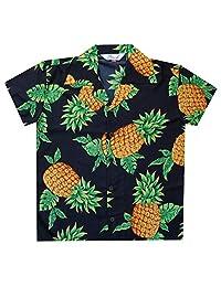 Hawaiian Shirts Boys Pineapple Leaf Beach Aloha Casual Holiday Camp Short Sleeve