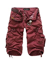 BSTGE Men's and Boy's Relaxed Fit Outdoor Casual Twill Cargo Shorts