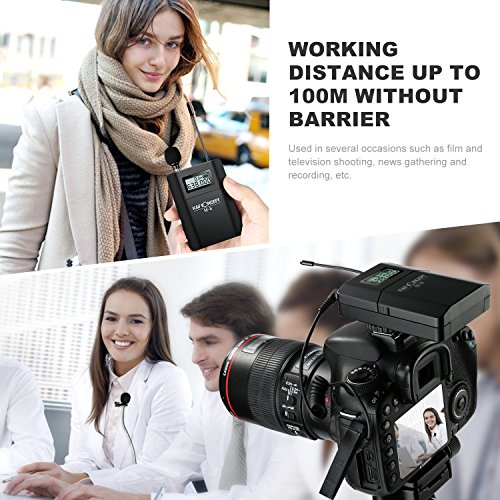 K&F Concept UHF Unidirectional Wireless Lavalier Microphone with Transmitter with Camera Mount for Canon Nikon DSLR Camera Sony Panasonic Camcorders