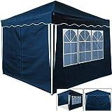 Faltpavillon blau 3x3 m + 4 Seitenwände - Popup Pavillon Pavilion