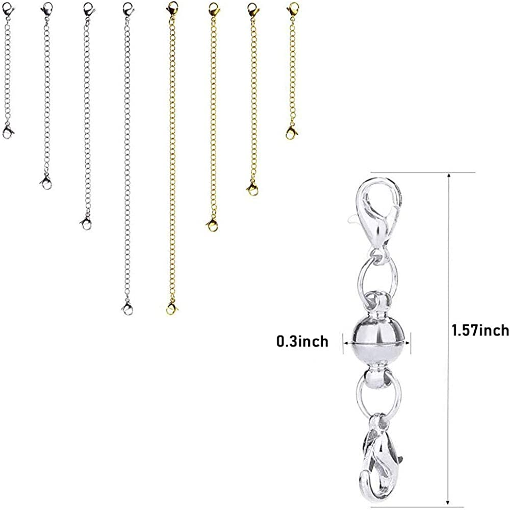 Magnetic Lobster Clasps 12Pcs Necklace Extender Necklace Bracelet Jewelry Jewelry Making Silver and Gold Necklace Magnetic Tail Chain Set DIY Bracelet Anklet Use
