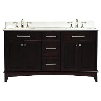 Water Creation MANHATTAN60 Manhattan Collection 60 Inch 61 With Countertop Double Sink Bathroom Vanity Set