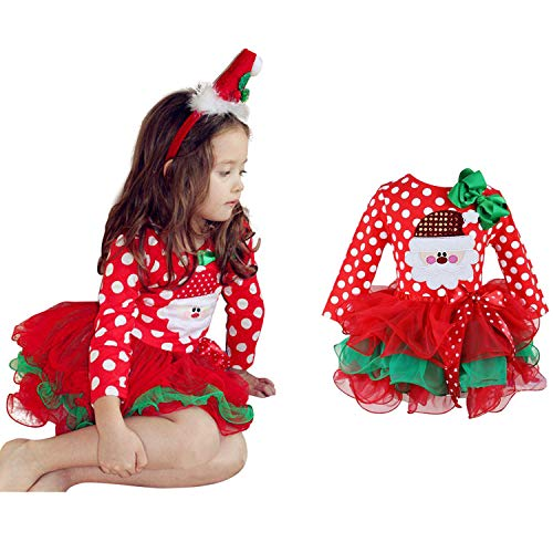 Santa Claus Outfit For Toddler (NNJXD Christmas Toddler Baby Girls Outfits Polka Dot Xmas Tutu Dress Santa Claus Pattern Red Dresses Size 4-5 Years)