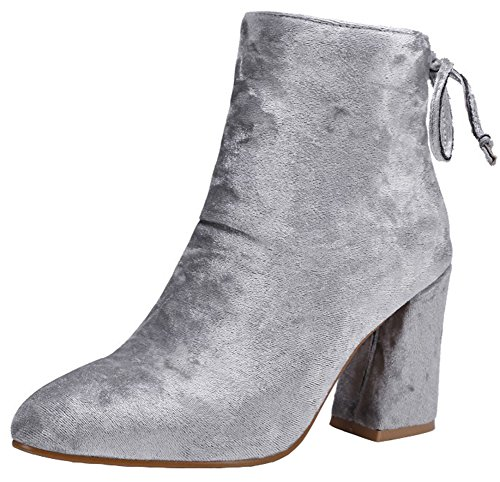 Bow Suede Toe up Side Women's Short Boots Zipper Gray OL Faux Pointed Mofri Booties High Ankle Block Work Dressy Heel qEBPaPOw