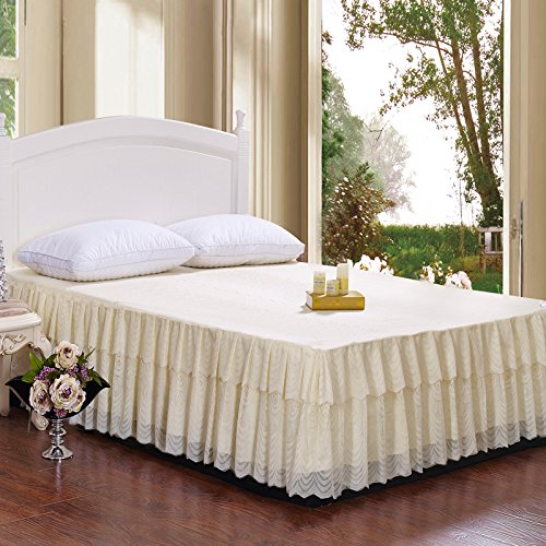 - Zhiyuan Floral Lace Ruffle 2 Layers Tulle Bed Skirt Beige Queen