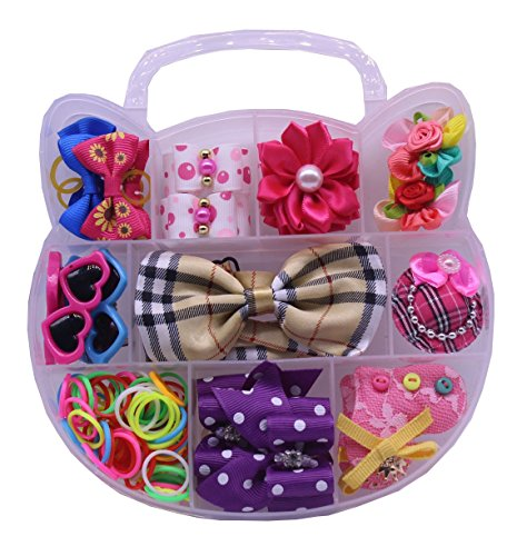 yagopet Dog Hair Bows with Rubber Bands Set PP Box Packing Cute Cat Design Pet Topknot Dog Bows Mix Rhinestone Pearls Bows Pet Dog Grooming Bows Dog Bows Hair Accessories