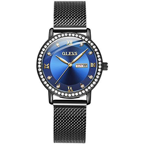 Ladies Watch Fashion Watches for Women Waterproof Black Steel Mesh Strap Luxury Rhinestone Ladies Watch Blue face with Day Date and Japanese Quartz Movement Analog Watch AY-5881L