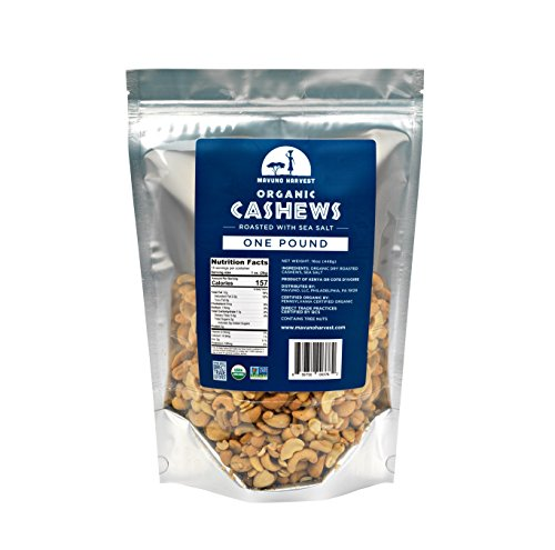 Mavuno Harvest Organic Direct Trade Premium Whole Cashews, Dry Roasted with Sea Salt, 1 Pound