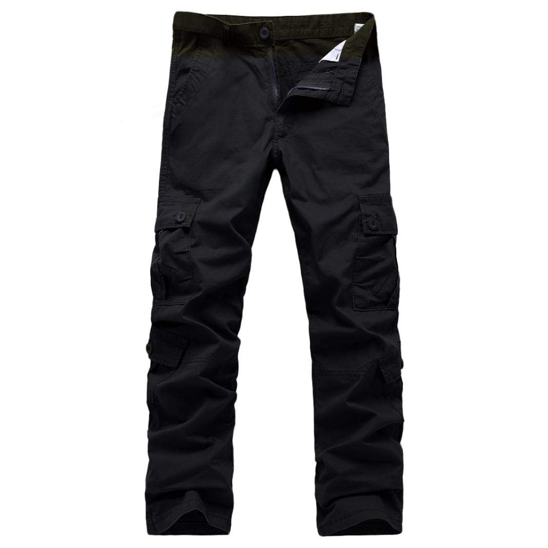 Realdo Clearance Fashion Army Trousers Multi-Pocket Combat Zipper Cargo Waist Work Casual Pants(38,Black) by Realdo (Image #1)