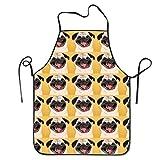 Bag shrot Funny Pug Smile Wallpaper Women's Men's Funny Creative Print Cooking Aprons